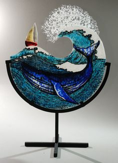 My glass art is inspired by the sea, its creatures, boats and most importantly its Waves. I work with fused glass which I then form using an electric kiln. Stained Glass Ornaments, Stained Glass Crafts, Fused Glass Art, Stained Glass Patterns, Mosaic Glass, Glass Plaques, Glass Fusing Projects, Wine And Canvas, Kiln Formed Glass