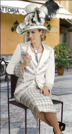 Women s Off-White Tweed Suit with Unique Syling from Donna Vinci 11113 Donna  Vinci. 20a3949a4876