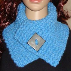 Sky Blue Chunky Cowl with a large decorative Black by LolasWonders Black Button, Cowls, Women's Clothing, Crochet Necklace, Scarves, Sky, Clothes For Women, Trending Outfits, Unique Jewelry