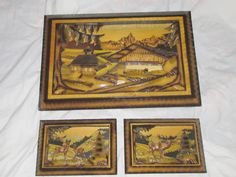 3 Piece Lot Vintage 3D Hand Carved Wood Diorama Art Pictures Jesus, Deer, Homes