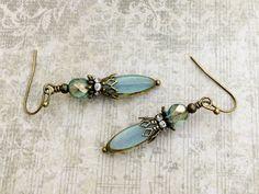Aqua Earrings, Blue Earrings, Victorian Earrings, Bronze Earrings,Czech Glass Beads, Antique Gold Earrings, Bridal Earrings, Womens Earrings by SmockandStone on Etsy