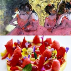 """Art: Edgar Degas""""Dancers in pink before the ballet"""" 1884. Plating: Antonio Bachour @bachour1234 by platetheart"""