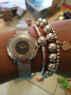 Pandora Icon watch and bangle with Tiffany & Co 10mm beaded and 4mm beaded Rubedo Return to Tiffany bracelets, so shiny