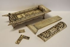 A French Prisoner of War Cribbage and Dominoes set carved from bone Domino Effect, Bone Crafts, British Armed Forces, Cribbage Board, Battle Of Waterloo, Animal Bones, Prisoners Of War, Miniature Crafts, American War