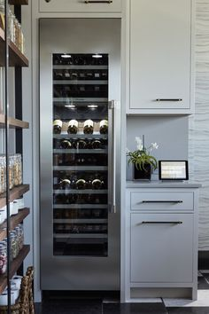 Built In Wine Refrigerator, Wine Fridge, Wine Storage Cabinets, Kitchen Cabinet Storage, Kitchen Cabinetry, Built In Wine Cooler, Home Wine Cellars, Wine Cellar Design, Wine Wall