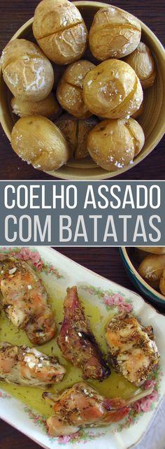 Coelho assado com batatas | Food From Portugal. Quer preparar uma refeição saudável, nutritiva e com excelente apresentação? Sugerimos esta receita de coelho assado com batatas, é ideal para um almoço com toda a família! Atreva-se!!! #receita #coelho #batatas