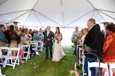Meghan and Will- father walking bride up the aisle- offsite wedding