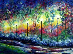 XLarge Park at Night Abstract Painting Modern por jmichaelpaintings