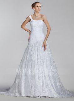 Vestidos de novia - $214.99 - Corte A/Princesa Un sólo hombro Tren de la corte Satén Encaje.