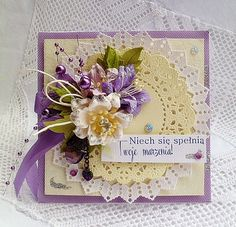 Card with flowers and pearls.
