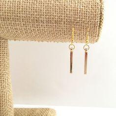 Gold bar drop earrings drop by J JJewelry Design.