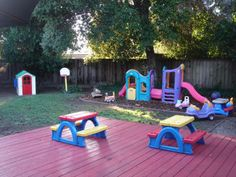 with an outside play area and activities for all kids.