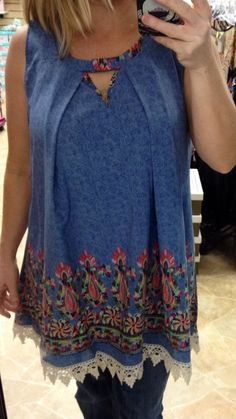 DENIM MULT-COLORED FLORAL LACE BORDER SLEEVELESS TOP IN REGULAR & PLUS SIZE #HONEYME #Tunic