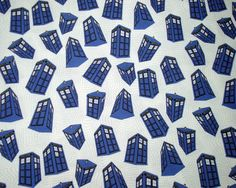 Doctor Who Fabric Fat Quarter - Spinning Tardis on White. $8.00, via Etsy.