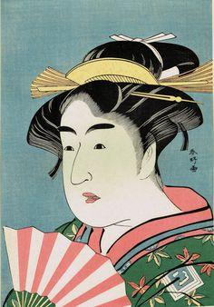 """Japanese Ukiyo-e Woodblock print Katsukawa Shunko """"Ichikawa Monnosuke II as O-some"""""""