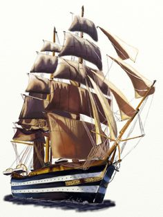 How to draw a Sailboat, step by step