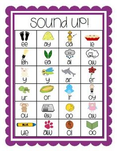 Awesome vowel digraph chart. In this activity, the student can read the letter combination and then use the picture to know how to say the digraph/dipthong correctly according to what they see in the picture. This will give them some visual word association for letter combinations and the sounds they make.