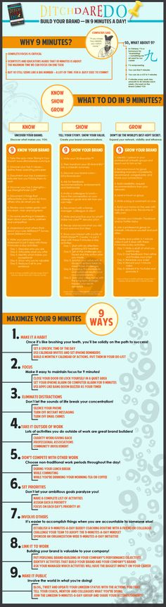Build your brand in 9 minutes a day #infografia #infographic #marketing
