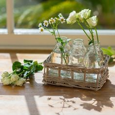 Willow Basket With Six Mini Flower Bottles