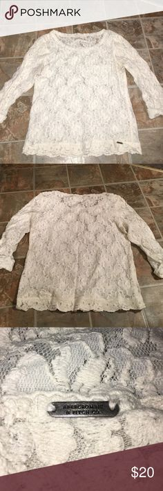 Beautiful lace Abercrombie and Fitch Shirt In perfect condition. All lace quarter length sleeve shirt with a cute cuff at the end of sleeve. Abercrombie & Fitch Tops Blouses