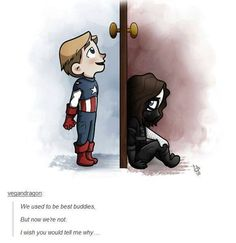 Captain and Bucky doing Frozen's Elsa and Anna reenactment.