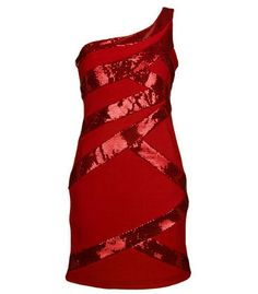 #lulusholiday Red One Shoulder Sequin Contour Dress - Beautiful