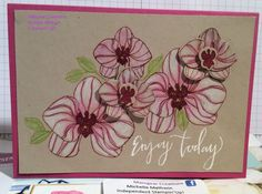 #Stampin' Up! Climbing Orchard. Berry burst embossed with clear on crumb cake. Coloured with whisper white using an old wink of Stella and water colour pencils.