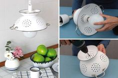 DIY Pendant Lamp of Enameled Colander