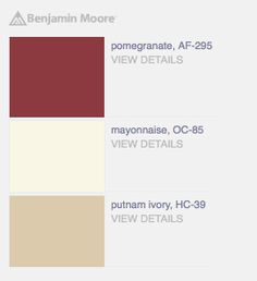 """Bold palette with """"Pomegranate"""" red, """"Mayonnaise"""" beige, & """"Putnam Ivory"""" light taupe paint colors from Benjamin Moore."""