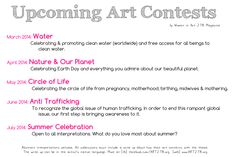 Upcoming Art Contests for Women in Art 278 Magazine -- freedom / anti-trafficking and summer celebration! More info at www.art278.org