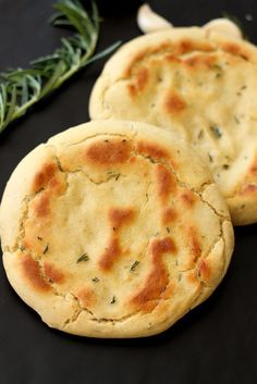 This Gluten Free and Yeast Free Flatbread Pitas is made with fresh Rosemary and Garlic. Perfect substitute for your everyday bread and easy to make!