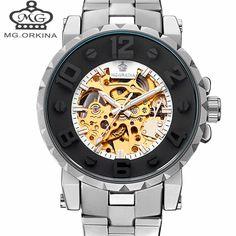 Automatic Mechanical Watch Men Hot Skeleton Watches Silver Bracelet Wristwatch Luxury Brand ORKINA Men's Watch Auto Self-winding //Price: $52.99 & FREE Shipping //     #hashtag4