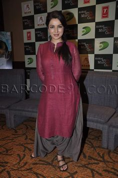 Tisca Chopra in maroon kurti and grey patiala.