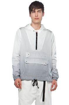 Band Of Outsiders Windbreaker In Gingham Degrade Printed Nylon by BAND OF OUTSIDERS