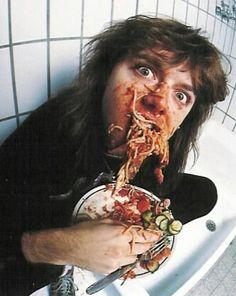 Larsie seems to be enjoying that spaghetti