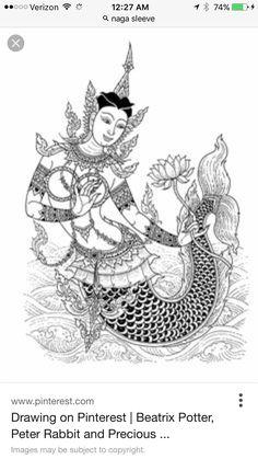 Thai Mermaid Mermaid Drawings, Mermaid Art, Art Drawings, Dancer Tattoo, Henna, Mehndi, Cambodian Art, Southeast Asian Arts, Magic Tattoo