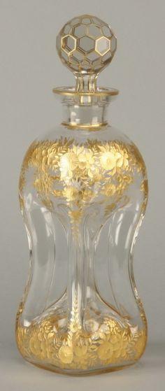 Perfume Bottles Old Antique Czech Art Nouveau Malachite Glass Perfume Bottle Superior Materials Antiques