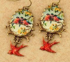 Red+Robin+Earrings+Red+Bird+Earrings+Robin+by+ForTheCrossJewelry,+$29.00