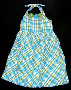 GIRLS GYMBOREE TUNIC Checkered Blue, Lime & Yellow Halter Tieable Neckline Sz 8 #Gymboree #Dressy