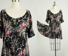 90s Vintage Black Floral Slouchy Mini Dress / Size by decades