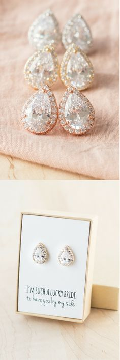 Unbelievable sparkle. These cubic zirconia teardrop post earrings are gorgeous in gold, silver, and rose gold. Wear them on the wedding day and ever anniversary after.