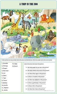 A collection of English ESL worksheets for home learning, online practice, distance learning and English classes to teach about zoo, zoo English Lessons For Kids, English Worksheets For Kids, English Games, Kids English, English Activities, Learn English, Teaching English Grammar, Grammar Lessons, English Writing