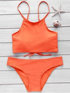 Orange Cami Bikini Set - ORANGE M Mobile
