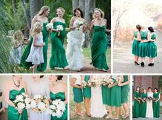 Coral, Mint, Peach, Emerald and Navy Bridesmaid Dresses