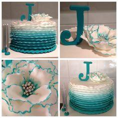 Fondant Ombré Teal Ruffle Flower Cake