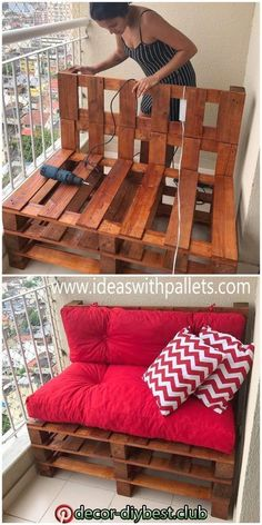 Diy Furniture Couch, Wood Pallet Furniture, Furniture Projects, Balcony Furniture, Outdoor Palette Furniture, Furniture Plans, Furniture From Pallets, Furniture Makeover, Garden Furniture