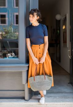 navy and mustard // A Week of Outfits: Sarah Ali Pacha