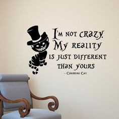 Looking for inspiration or just a fun quote? Get this Alice In Wonderland inspired Wall Sticker Decal from the Cheshire Cat! Various sizes ON SALE NOW! Specification: Single-piece PackageMaterials: Matte Vinyl PVC
