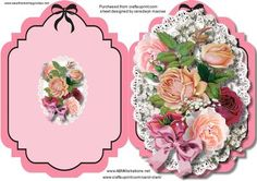 Print  Cut  and Fold  Lovely Roses on Craftsuprint designed by Ceredwyn Macrae - A lovely print, Cut, and fold card with lovely roses in pink to make and give to anyone Print Twice to Decoupage ,  - Now available for download!