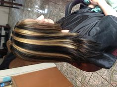 Brown hair  with chunky highlights